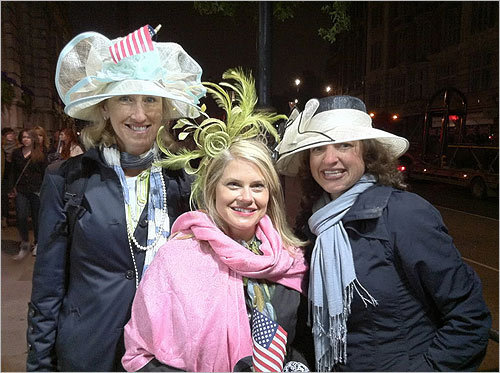 From left, Jackie Cameron, from Rockville Centre, N.Y., Julie Lischer, from Atlanta, and Joanna Winfrey, of Seattle, at 4 a.m. They lived together in London for four years and returned for the wedding. 'We're royal nutters, officially,' Lischer said.