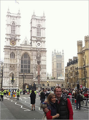 Boston Globe photographer Dina Rudick is in London, capturing the scene surrounding Prince William and Kate Middleton's wedding with her iPhone. Pictured, Naomi Phillips and Darryl Tott, both from Ascot, England, are self-described royalists and said they came to London to see the wedding.