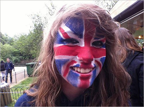India Wadham, of Cambridge, England, painted her face for the occasion.