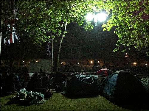 Overnight campers slept in tents on the Mall.