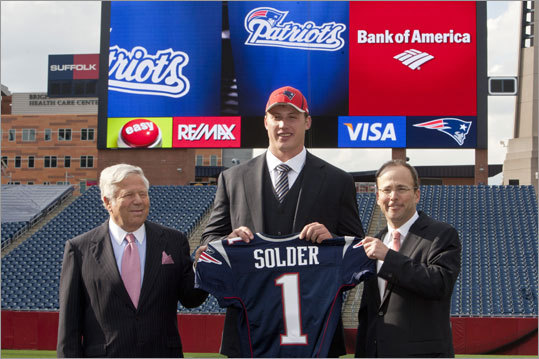 The Patriots drafted Colorado offensive lineman Nate Solder with the 17th pick in the first round of the NFL Draft, and he traveled to Foxborough to visit Gillette Stadium and get to know the team's management. Scroll through the gallery to meet the other players the Patriots selected in the 2011 NFL Draft. Video: Solder visits Gillette Stadium