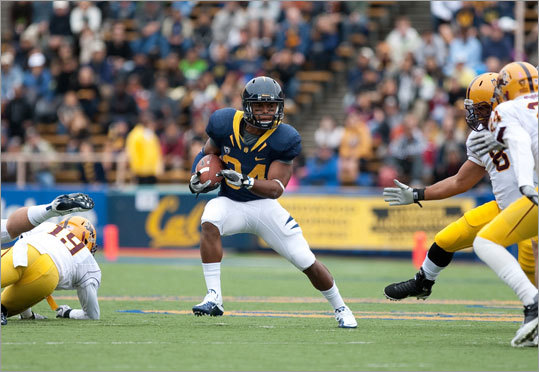Shane Vereen College: California Position: running back Pick: 2d round, 56th overall Of note: Vereen (5-10, 210) is speedy and a good receiver who teamed with Jahvid Best, but broke out last season for 1,167 yards and 13 touchdowns rushing to go with 22 receptions for 209 yards and three touchdowns.