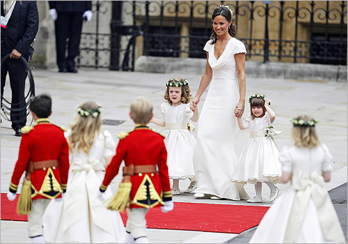 Maid of honor Philippa 'Pippa' Middleton arrived with the ring bearers at Westminster Abbey.