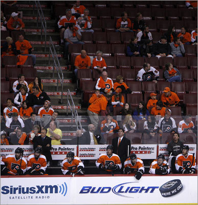 The Flyers' fans saw the writing on the scoreboard and began leaving with more than five minutes left in the game.