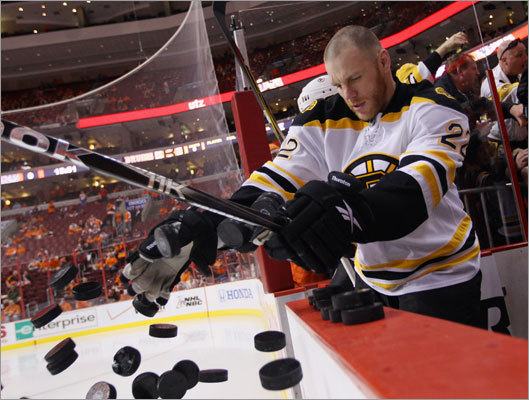 Left wing Shawn Thornton tossed pucks onto the ice for the pregame warmup session prior to Game 1.
