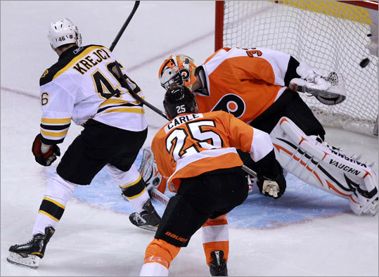 Krejci flipped a backhand shot past Flyers goalie Brian Boucher for his second goal of the playoffs. Horton and Dennis Seidenberg had assists on the play.