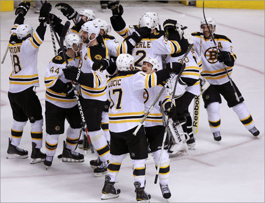 Krejci's goal didn't go onto the score sheet until after a brief video review, but once the referees signaled the goal was good, the Bruins began celebrating.