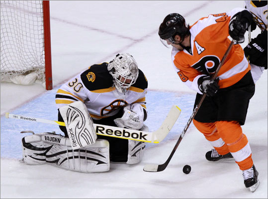 Bruins goalie Tim Thomas made 52 saves, including 22 in the third period. Danny Briere was one of the Flyers Thomas denied in the third.