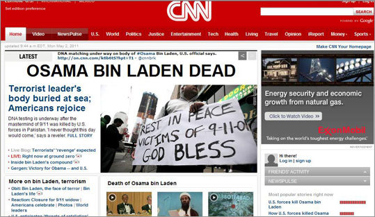 www.cnn.com CNN's home page contains a prominent headline that leads to a live-updating blog. The editor's note on the page states that the blog will 'be providing you with the latest information, the most interesting and compelling details and angles on Osama bin Laden's death.'
