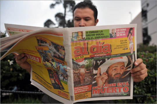 The killing of Osama bin Laden by American forces has captured the attention of media outlets throughout the world. Here is a look at how newspapers and websites are covering the death of the Al Qaeda leader. Pictured: A man read news reports on Osama bin Laden's death in the the Al Dia newspaper in Guatemala City on May 2.