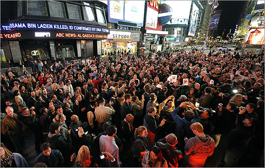 A crowd quickly grew in Times Square after the announcement of bin Laden's death.