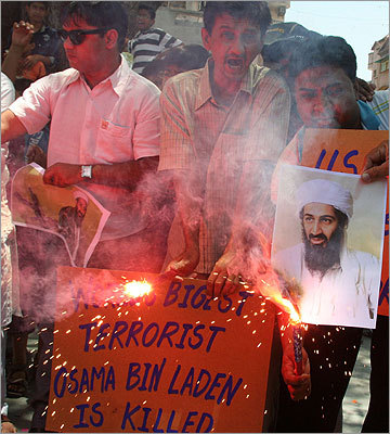 People in the western Indian city of Ahmedabad celebrated the killing of Osama bin Laden.