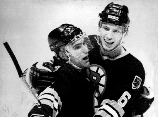 1987-88 Stanley Cup finalists The Bruins' run to the finals ended anticlimactically -- they lost in four straight to Wayne Gretzky, Mark Messier, and the loaded Edmonton Oilers, who would win their fourth Stanley Cup in five years. But it sure was fun getting there. Led by first-team All-Stars Cam Neely (42 goals) and Ray Bourque (pictured celebrating a goal with Gord Kluzak during a playoff win over the Devils), the Bruins went 44-30-6 during the regular season, finishing with 94 points, nine fewer than division-winning Montreal. But the Bruins proved the superior team in the postseason -- and exorcised some ghosts -- by eliminating the Canadiens in five games in the Adams Division finals, the first time in 44 years Boston had bounced Montreal from the playoffs.