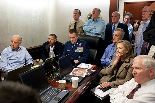 Before he addressed the nation in an unplanned speech regarding Osama bin Laden's death on Sunday night, President Obama and his national security team held several meetings inside the Situation Room of the White House. Read on to see scenes from the Situation Room. In this photo, inside the Situation Room, Obama, Vice President Joe Biden, and members of the national security team reacted after receiving an update on the mission against Osama bin Laden on Sunday.
