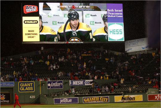 The Bruins were the main attraction at two Boston sports venues. Game 3 of their playoff series at TD Garden against the Flyers was played on the video boards at Fenway Park while the Red Sox' game against the Angels was in a rain delay. The Bruins won 5-1 and took a 3-0 lead in the Eastern Conference semifinal series.
