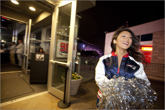 Sallie Werst was one of the 31 new Patriots cheerleaders greeting fans at CBS Scene at Patriot Place, where the 2011 Patriots squad was introduced on May 3.