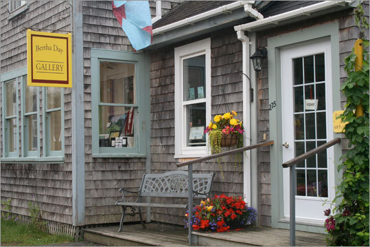 At the Bertha Day Gallery, the skilled artisan creates images of barns, the shoreline, and fields of lupines on cotton wall hangings. Garden by the Sea has a selection of over 130 teas, vases, and locally made soaps and gooseberry jam. Read: By the bay