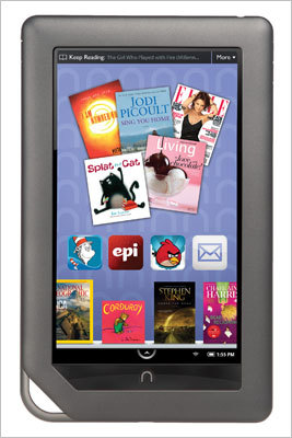 Nook Color Price of tablet: $169 Data plan: Wi-Fi connectivity only. The Nook Color is a low-cost alternative to most of the other tablets available on the market. Offered by Barnes & Noble, originally as an e-reader, this tablet has a 7-inch color display and now has an app store that offers 130 apps to start with and more to come. it also features web browsing, e-mail and over 2 million titles available for download.