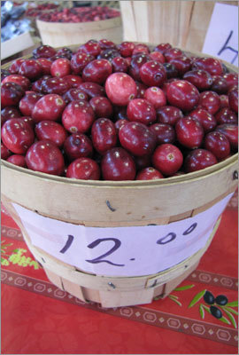 Cranberries for sale at Marche du Vieux-Port, a farmers' market near the river in Quebec City. Read: For every taste: history and food, shops and stroll