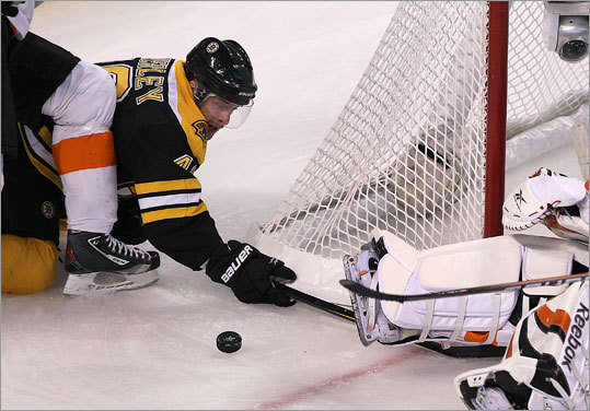 Bruins center Rich Peverley batted at a loose puck from behind the net in the second period, but Flyers goalie Sergei Bobrovsky was able to block the goal with his leg pad.