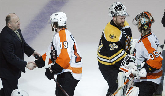 The Bruins advanced to the NHL's Eastern Conference finals for the first time in 19 years with a 5-1 victory over the Flyers in Game 4 at TD Garden. Afterward, coach Claude Julien shook hands with the Flyers' Scott Hartnell, and goalie Tim Thomas shook with Sergei Bobrovsky.
