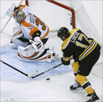 Bobrovsky slid across the crease in time to stop this attempt by Lucic in the first period.