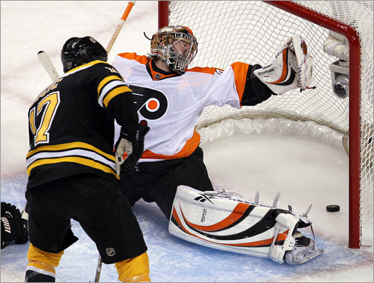 Bruins left wing Milan Lucic scored the only goal of the first period, beating Sergei Bobrovsky to give the Bruins a 1-0 lead over the Flyers. Lucic's power-play goal at 12:02 of the first period was his first goal of the playoffs.