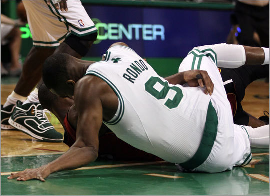 The Celtics avoided falling into an 0-3 hole in their playoff series vs, the Heat, but the story line that everyone will be buzzing about is Celtics guard Rajon Rondo's improbable return from a dislocated elbow. Rondo was injured when th fell to the floor and twisted his left arm in the third quarter, but after treatment he was able to return for the start of the fourth quarter.
