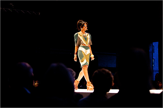 A model walked the runway in Anna Elmstrom's 'Green Revival' collection, a line of eco-friendly fashion.