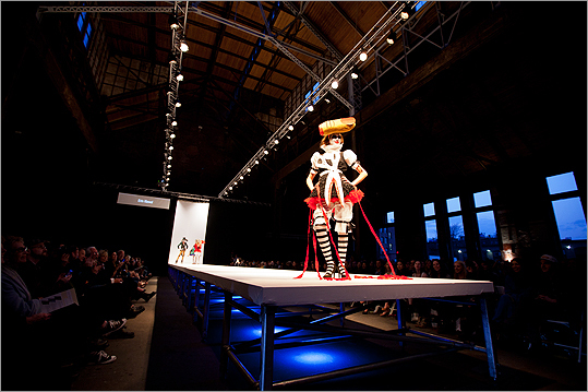 A model walked the runway in Erin Kiewel's collection 'Der Struwwelpeter,' inspired by and named after a German bedtime story that teaches children the consequences of being bad.