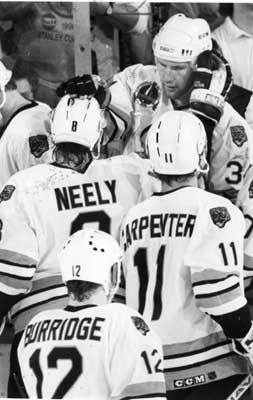 1990: Bruins sweep the Capitals The Bruins won the Adams Division in 1990, going 46-25-9, led by Ray Bourque and Cam Neely who had 55 goals during the regular season. The Bruins beat the Whalers and Canadiens in the first two rounds of the playoffs, setting the table for three straight runs to the conference finals. In 1990, the Bruins swept the Capitals to advance to the Stanley Cup, outscoring them 15 to 6. Neely scored 5 of those goals. The Bruins would go on and lose in the Stanley Cup to the Edmonton Oilers for the second time in three years.