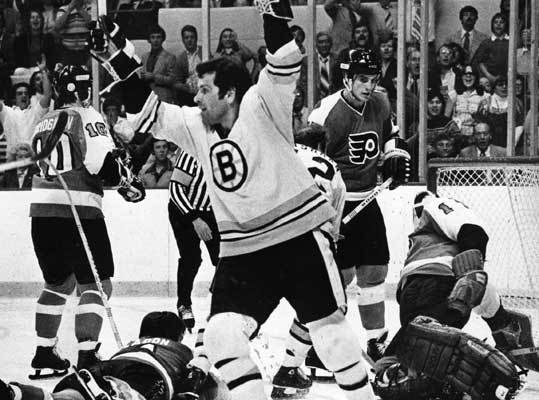 1978: Bruins defeat the Flyers again This Don Cherry-led Bruins team beat the Flyers in five games in the conference finals. Defensemen Rick Smith and Brad Park were third and fourth respectively in the NHL in points scored during the regular season. The Bruins would lose to the Canadiens in the Stanley Cup for the second straight year. Park was second in playoff scoring and assists with nine goals and 11 assists.