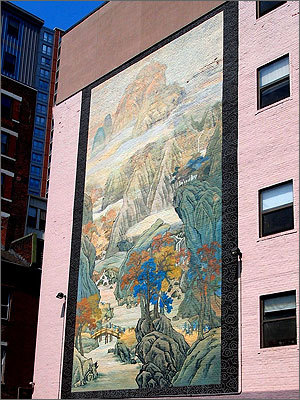 The Chinatown Heritage Mural, painted by Wen-ti Tsen and Yuan Zuo on a wall between Oxford Street and Oxford Place, reproduces 'Travellers in an Autumn Landscape', a painting by Wang Yun that hangs in the Museum of Fine Arts.