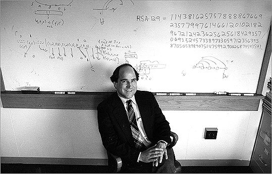 "Number 18: Protect yourself An approach to sending secure digital messages – like using your credit card number with an e-commerce site – was developed in 1977 by a trio of MIT professors: Ron Rivest , pictured, Adi Shamir , and Leonard Adleman . RSA (the initials of each of their last names) cryptography uses a ""public key,"" which can be known to anyone, to encrypt messages and a ""private key,"" which only the recipient has, to decrypt them. The trio eventually sold RSA Security to EMC Corp. for $2.1 billion."