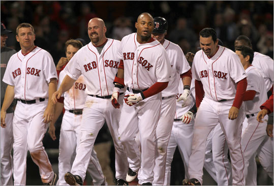 Carl Crawford's double to left field in the bottom of the 11th inning lifted the Red Sox to a 2-1 victory in the final game of a four-game set vs. the Twins on Monday. The Red Sox won three of four vs. the Twins.