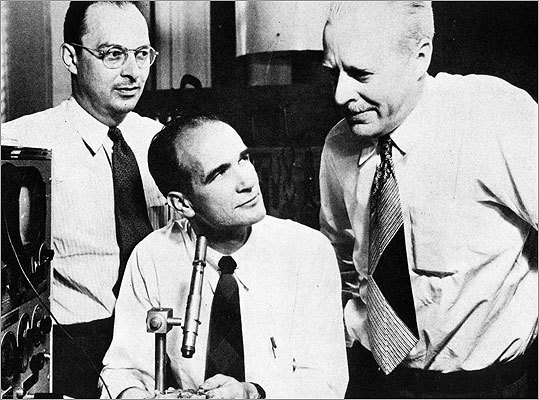 Number Three: Transistor radio Considered by some to be the most important invention of the 20th century, the solid-state transistor was born at Bell Labs in New Jersey. One of the three Nobel Prize laureate inventors was William Shockley , pictured, center, who earned his doctorate at MIT in 1936. Among the first products to take advantage of transistors were hearing aids, portable radios, and televisions. >