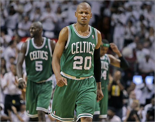 After keeping Game 5 of their playoff series close until late in the fourth quarter, Ray Allen and the Celtics were unable to hold off the Heat and lost 97-87. The loss eliminated the Celtics from the NBA playoffs, while the Heat advanced to the Eastern Conference finals.