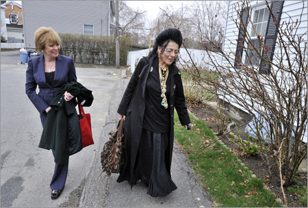 With the real estate market a mess, home buyers, sellers, and real estate agents in Salem, Peabody, and other nearby communities have turned to psychics, saints, and witches to clear away bad vibes in homes. Left: Self-described witch Lori Bruno of Salem and real estate broker Janet Howcroft visit homes in Peabody to whisk away negative spirits and vibes.