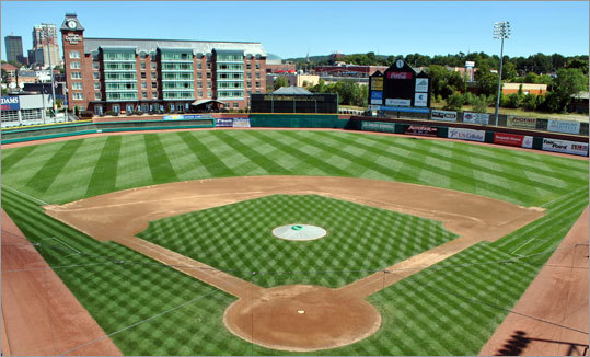 New Hampshire Fisher Cats - Northeast Delta Dental Stadium, which holds 6,500 fans and opened in 2005, is one of the newest in the minor leagues. The home field of the Double A Fisher Cats — like that of its parent club, the Toronto Blue Jays — features a hotel overlooking the ballpark, and a bar and grill beyond left field opens two hours before the first pitch. Another reason to get to the ballpark early is to cheer on Ollie the Bat Dog (a golden retriever, naturally) as he fetches the Fisher Cats bats in the home half of the first inning. New Hampshire will host the Eastern League All-Star Classic on July 13. $6-$12, 603-641-2005