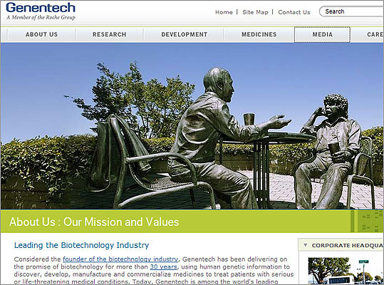 Number 30: Genentech is born Robert A. Swanson , whose likeness is captured (pictured, left) in this sculpture, a 1969 MIT graduate, cofounded biotech giant Genentech Inc. in 1976 at age 29 and helped launch the biotech revolution.