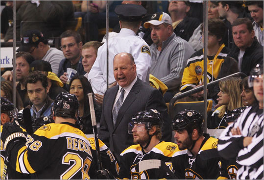 Bruins coach Claude Julien barked out his orders to alternate captain Mark Recchi and the bench during Game 1.