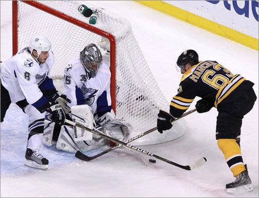 Bruins left wing Brad Marchand had his scoring bid denied by Lightning goalie Dwayne Roloson.