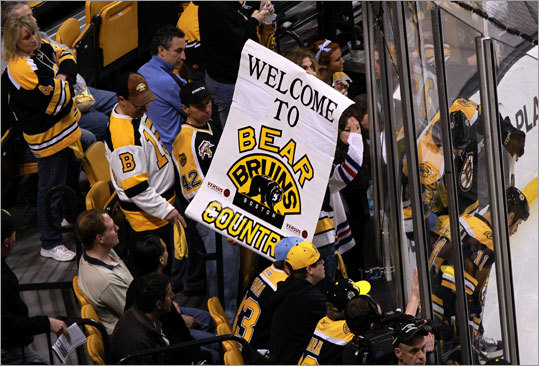 Bruins fans marked their territory prior to Game 1 of the Eastern Conference finals at TD Garden.
