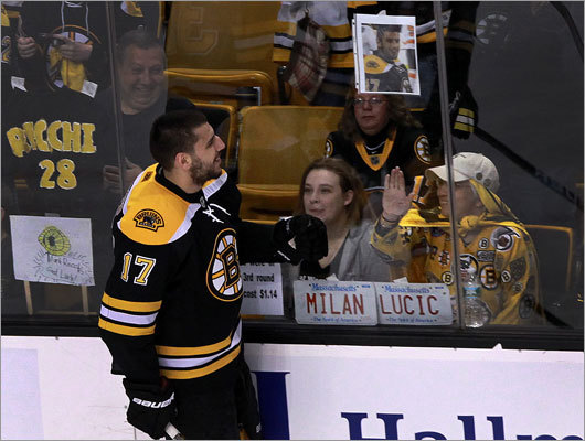 Fans showed Milan Lucic some love during the warmup session prior to the game.