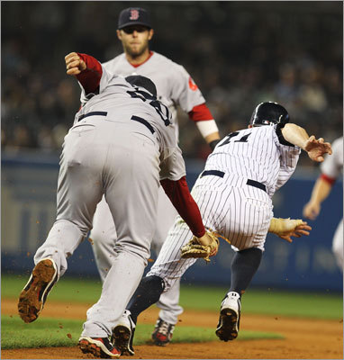 May 15: Red Sox 7, Yankees 5 Yankees outfielder Brett Gardner was caught in a rundown and tagged out by Adrian Gonzalez in the fourth inning.