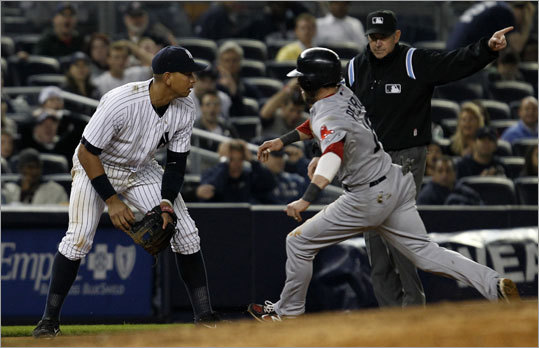 May 15: Red Sox 7, Yankees 5 Yankees third baseman Alex Rodriguez was left watching after a grounder got past him in the seventh inning and rolled into the outfield, allowing Dustin Pedroia to race around third and score to give the Red Sox a 6-4 lead. Rodriguez was charged with an error.