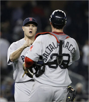 May 15: Red Sox 7, Yankees 5 Jonathan Papelbon pitched the ninth inning and earned his seventh save. Catcher Jarrod Saltalamacchia gave the Red Sox an insurance run with a solo home run in the eighth inning.