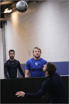 Lightning forward Steven Stamkos (center) warmed up outside the team dressing room prior to the faceoff.