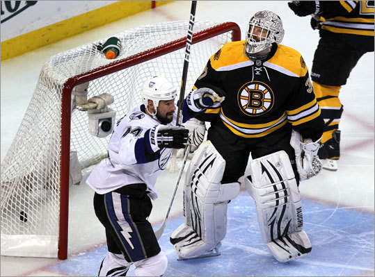 It was not the kind of start goalie Tim Thomas and the Bruins were looking for in Game 2 of their series against the Lightning, as Adam Hall scored just 13 seconds into the first period. Nate Thompson celebrated in front of Thomas.