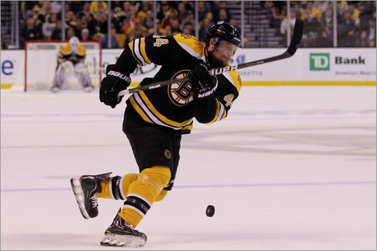 Dennis Seidenberg maneuvered into position just prior to setting up the Bruins' first goal.